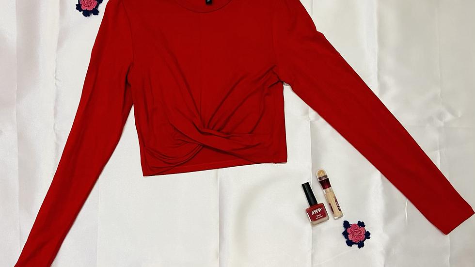 H&M Red Front-Twist Crop Top