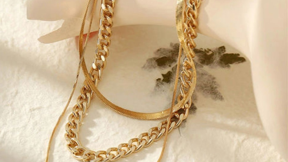 Gold plated Multilayer Aesthetic Chain Neckpiece