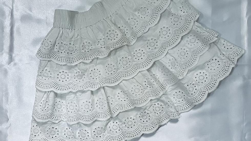White Schiffli Embroidered Layered  Skirt | Size S