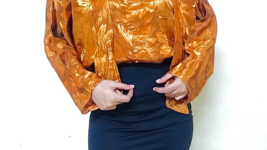 Copper Orange Golden Sunset Vintage Satin Shirt