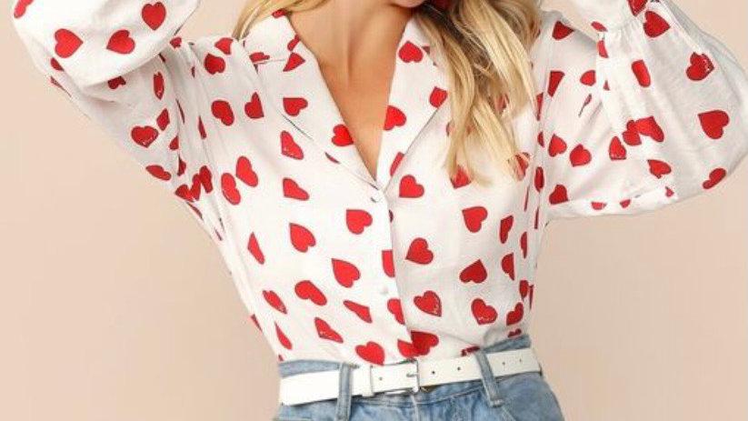 Red Heart Print Shirt Top