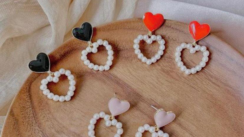 Korean Double Heart Earrings