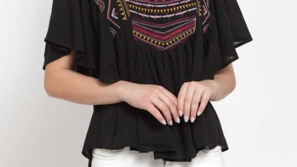 Black casual-festive poncho