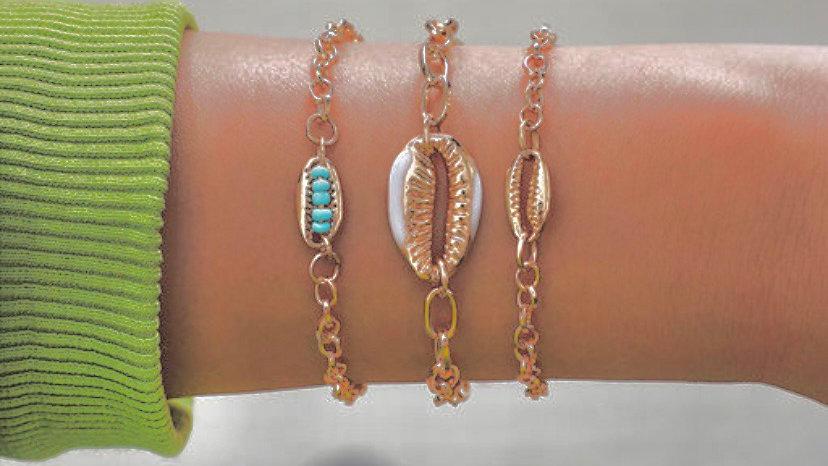 Green Rice Chain Shell Bracelet