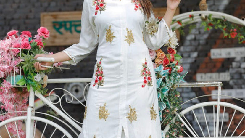 A-line Embroidered Kurti with Palazzo Set