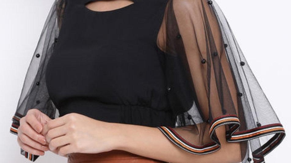 Net Sequins Embroidered Crop Top
