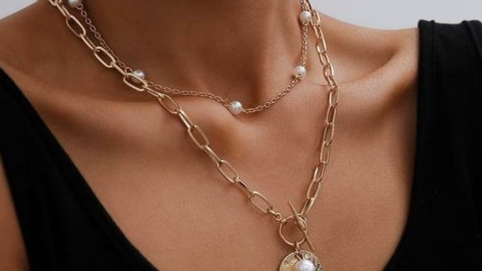 Vintage Coin Chain Pearl Layered Necpiece