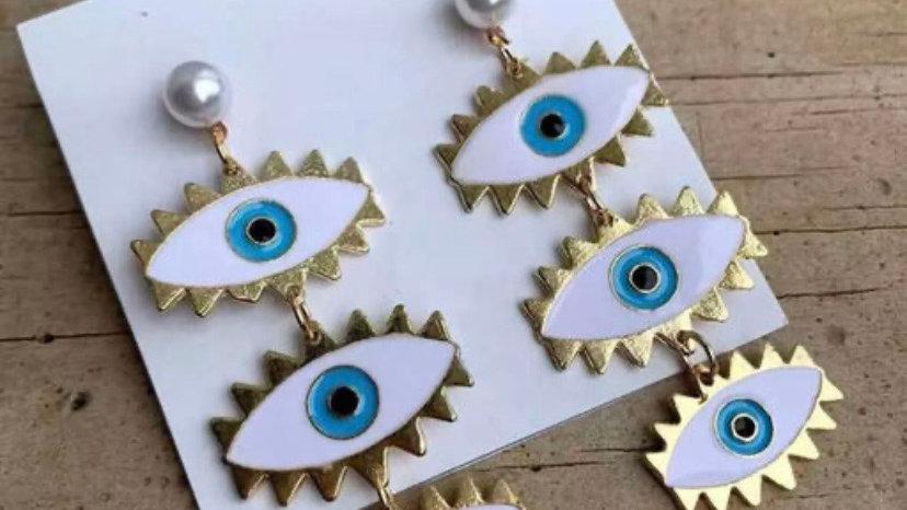 Triple Evil Eye Dangle Earrings