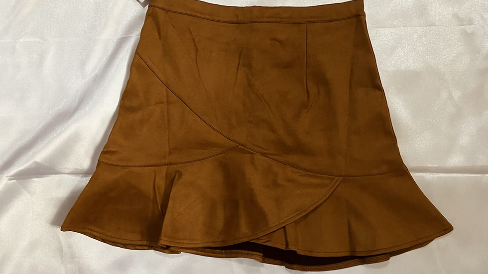 Golden Brown Suede Skater Skirt | Size L