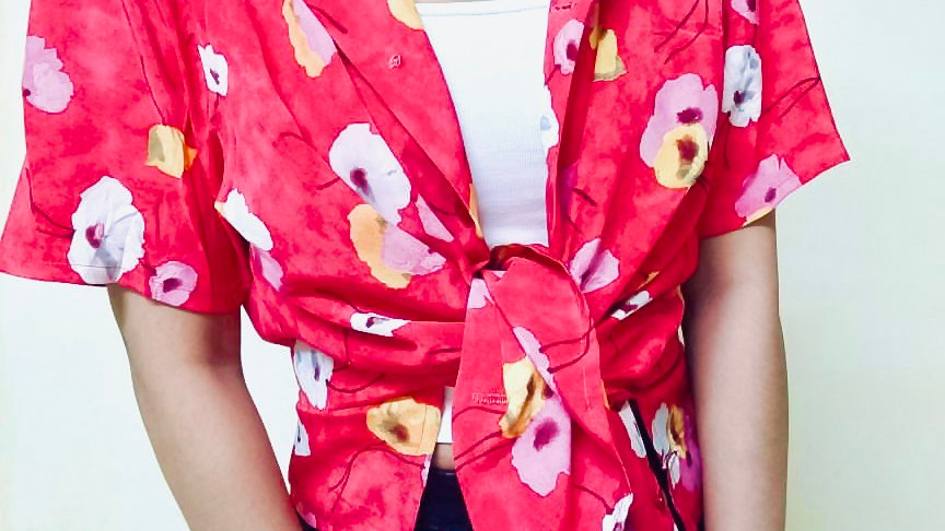 Vintage Red Poppy Print Boheme Blazer Shirt   Free Size