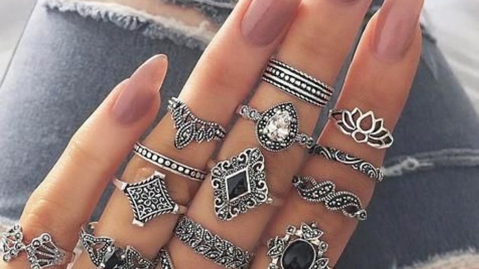 Oxidised Silver Women's Ring Set - 15 pieces