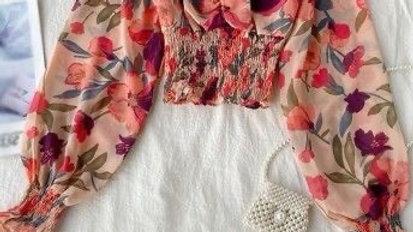 Lantern Sleeve Floral Print Bohemian Blouse