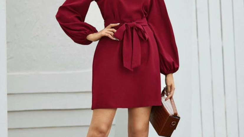 Belted Bishop Sleeve Dress
