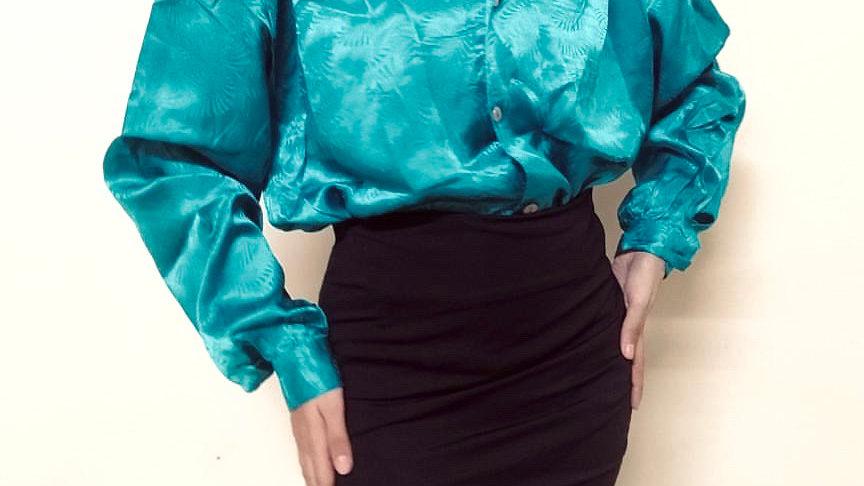 80s Vintage Teal Victorian Puff-sleeve Satin Shirt