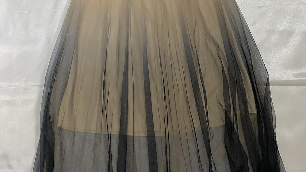 Beige Mesh Pleated Elastic Waist Skirt | Size S
