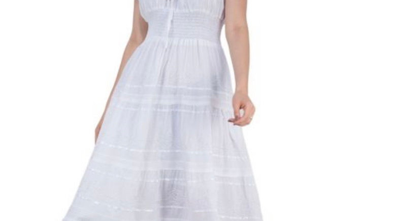 Summer Cottage Core Ripple Dress