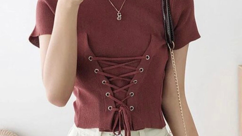 Korean inspired Lace-up Corset Top
