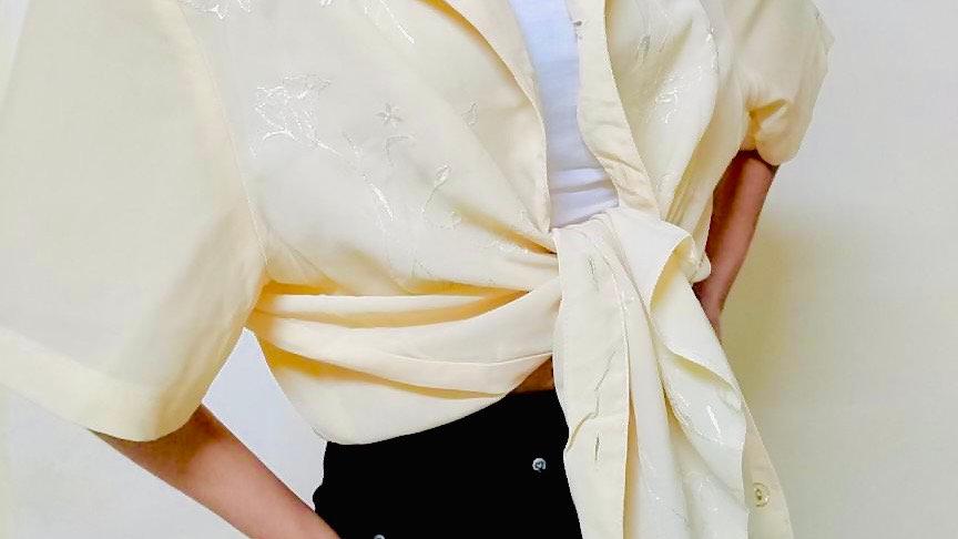 Floral Embroidered Goldenrod Vintage Blazer Shirt