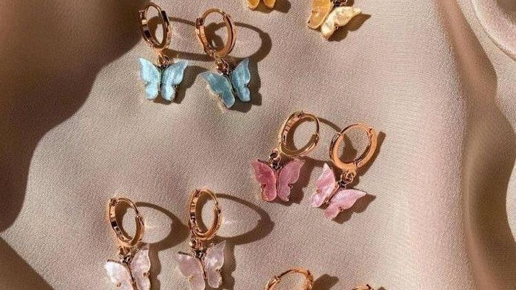 Butterfly Clip on Hoop Earrings