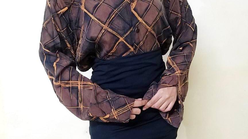 70s Copper Brown Tartan Check Vintage Shirt