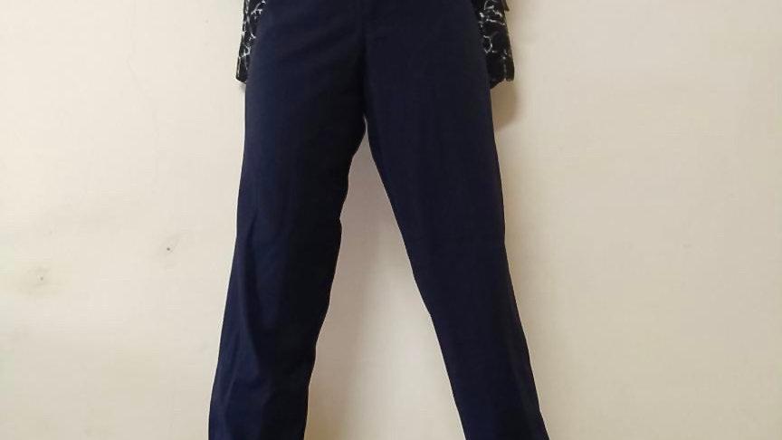 "Navy Blue Black High Rise Trouser | Size: 28"""