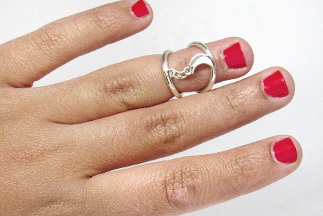 Moon Silver Splint Ring for PIP or DIP Joint • Swan Neck Splint • Silver Ring Sp