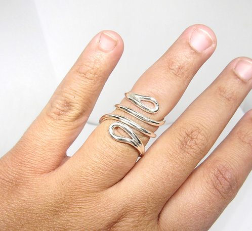 Drop Mallet Finger Ring • Trigger Finger Splint Ring • Sterling Silver Sp