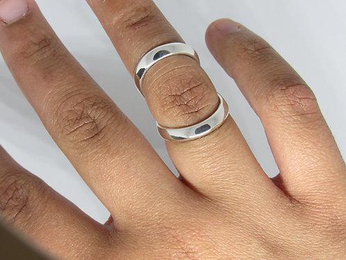 Wide Band Splint Ring in Sterling Silver