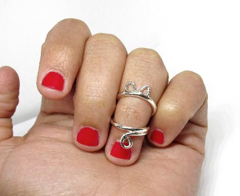 Cat Silver Splint Ring for PIP or DIP Joint • Swan Neck Splint • Silver Ring Spl