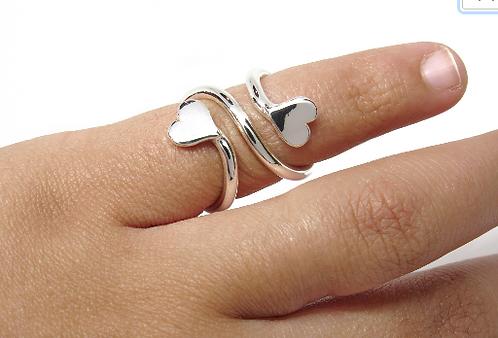 Heart Mallet Finger Ring • Trigger Finger Splint Ring • Sterling Silver Ring • T