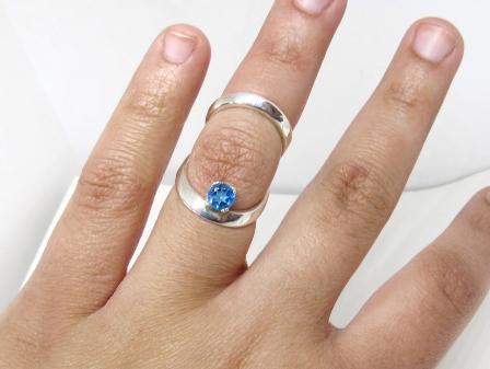 Silver Ring Splint with Birthstone