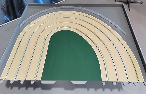 MR TRAX-3DOV-1L Modular 3 Lane L/H end - 1.2 x 1.5mt Dual radius end