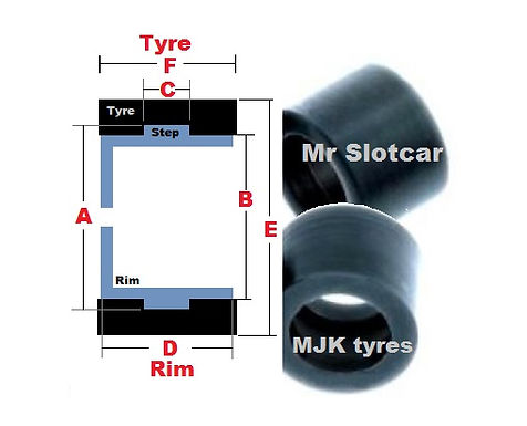 MJK 4209 Tyre - Scalextric F1 Rear (early)