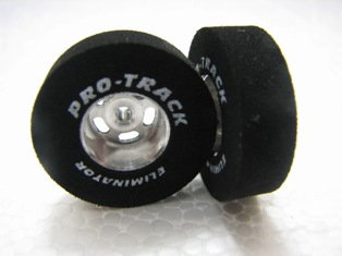 PRO TRACK #N271 3/32 x 1.0 x .300 Barracuda Drag Tyres w/Logo on Drilled Hubs