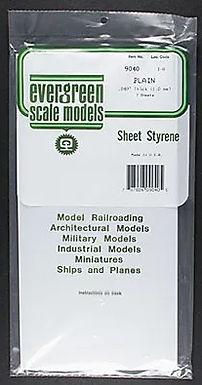 "EVERGREEN-9015 Styrene White sheet 0.38mm thick. 6"" x 12"""