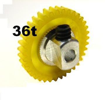 "PRO SLOT 691-36 Polymer 3/32"" Axle Gear 64p YELLOW 36"