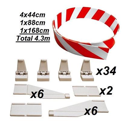 CARRERA-85220L 4.3mts Red/White Guard Rail Combo set