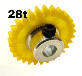 "PRO SLOT 673-28 Polymer 1/8"" Axle Gear 48p YELLOW 28"