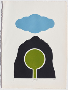 Gianfredo Camesi, Triptique et eau - forte, Wolke, Berg und Baum, 1973
