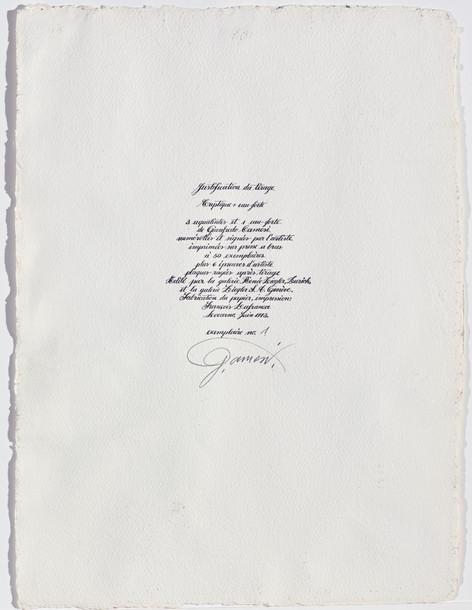 Gianfredo Camesi, Triptique et eau - forte, Deckblatt,1973