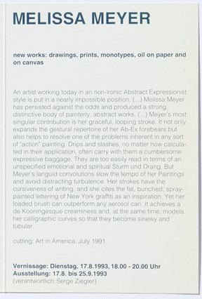 Melissa Meyer: new works - drawings, prints, monotypes, oil on paper and on canvas