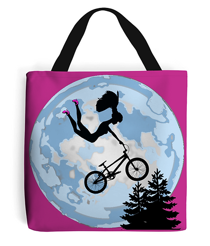 Doll Riding A BMX, ET Style Tote Bag