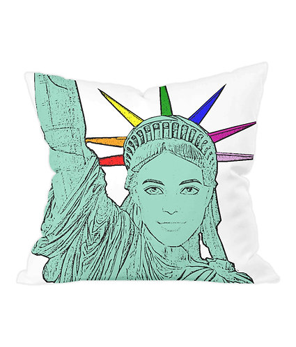 The U.S of Gay, Pop Art Statue of Liberty Cushion Cover
