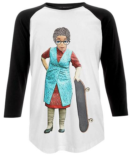 Skateboarding Granny Funny Baseball Shirt