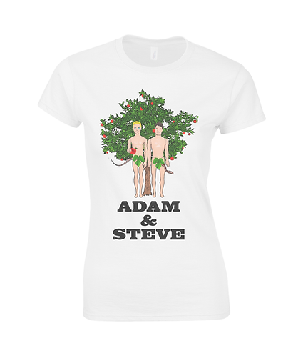 Adam & Steve, Gay, Funny Ladies T-Shirt