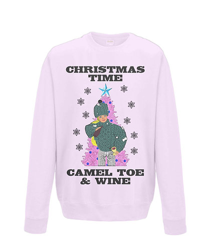 Christmas Time, Camel Toe & Wine! Rude, Funny Christmas Jumper! (black font)