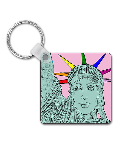 Cher as the Statue of Liberty! Funny Gay Keyring