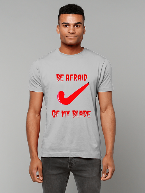 Be Afraid Of My Blade! Funny, Mens Field Hockey T-Shirt