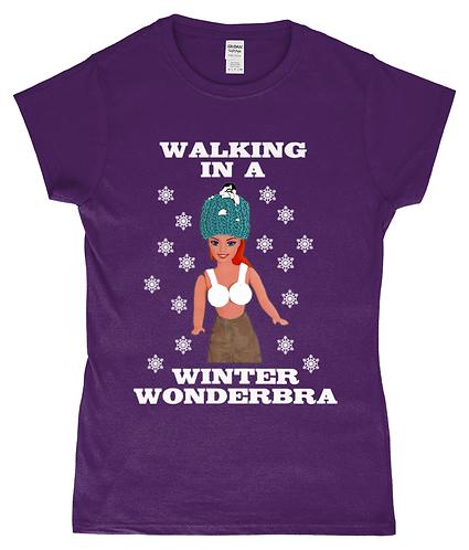 Rude, Funny, Ladies, Xmas TShirt! Walking In A Winter Wonderbra!