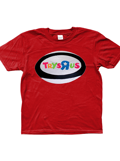 Trys R Us! Funny, Kids Rugby T-Shirt